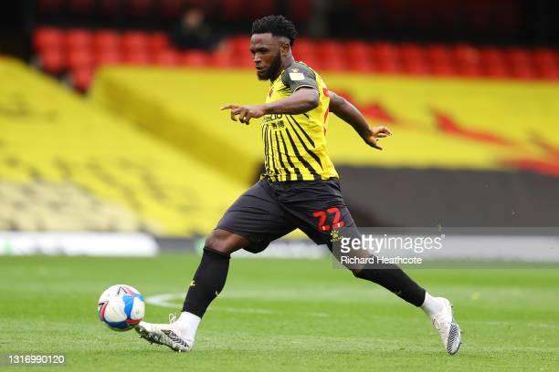 Isaac Success of Watford in action during the Sky Bet Championship match between Watford and Swansea City at Vicarage Road on May 08, 2021 in...
