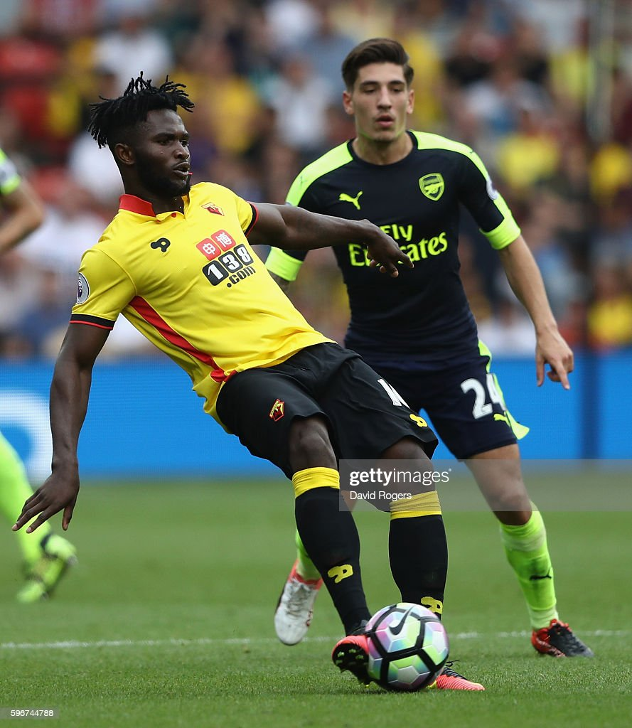 Isaac Success of Watford passes the ball during the Premier League match between Watford and Arsenal at Vicarage Road on August 27, 2016 in Watford, England.