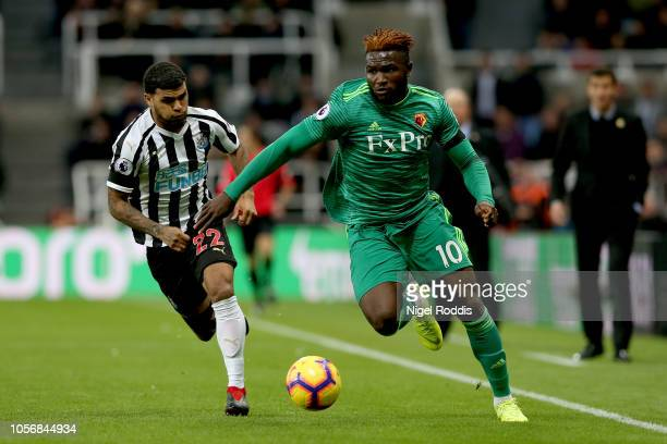 Isaac Success of Watford runs past Deandre Yedlin of Newcastle United during the Premier League match between Newcastle United and Watford FC at St...