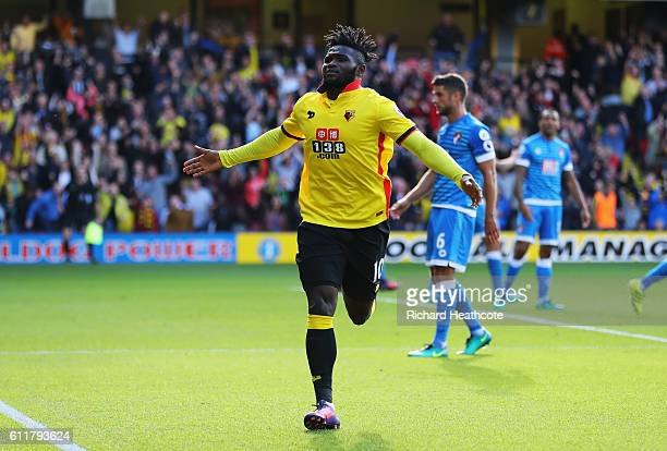 Isaac Success of Watford scores his sides second goal during the Premier League match between Watford and AFC Bournemouth at Vicarage Road on October...