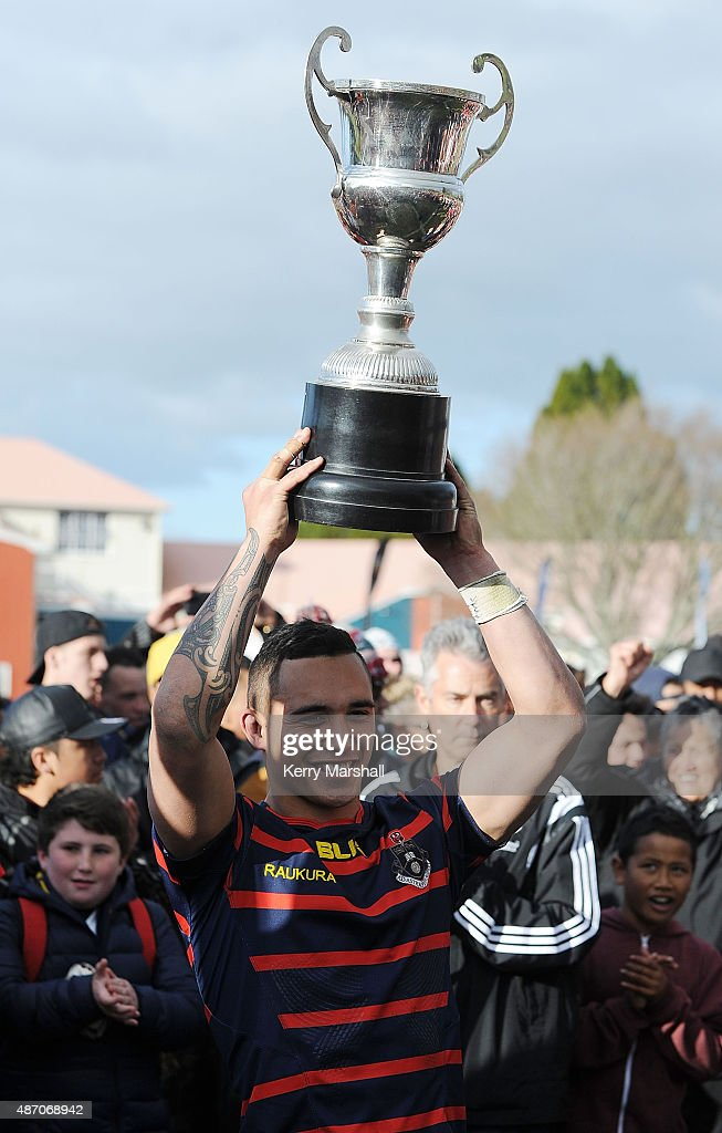 Isaac Te Aute of Rotorua Boy's High School with the Barbarians Cup following the National 1st XV Championship Final match between Rotorua Boys' High School vs Scots College on September 6, 2015 in Rotorua, New Zealand.