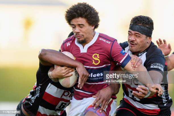 Isaac Te Tamaki of Southland is tackled by Donald Maka of Counties during the round 7 Mitre 10 Cup match between Southland and Counties Manukau at...