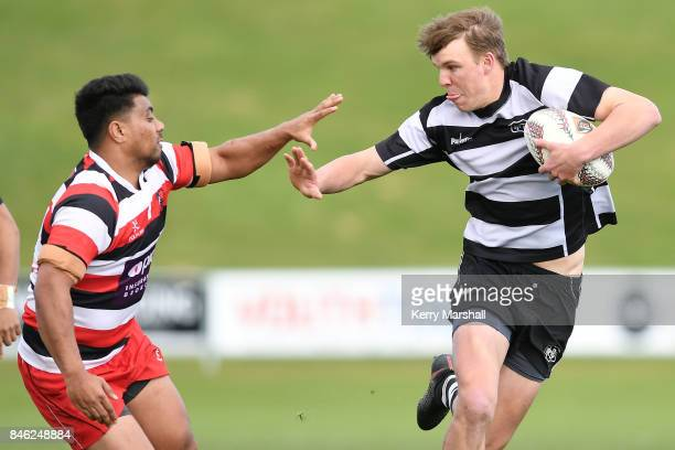 Isaac Thomas of Hawke's Bay fends during the Jock Hobbs memorial tournament match between Counties Manukau and Hawkes Bay on September 13, 2017 in...