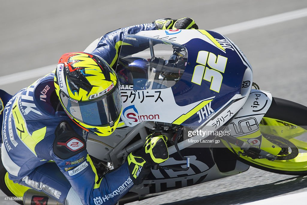 Isaac Vinales of Spain and Husquarna Factory Laglisserounds the bend during the MotoGp of Spain - Free Practice at Circuito de Jerez on May 1, 2015 in Jerez de la Frontera, Spain.