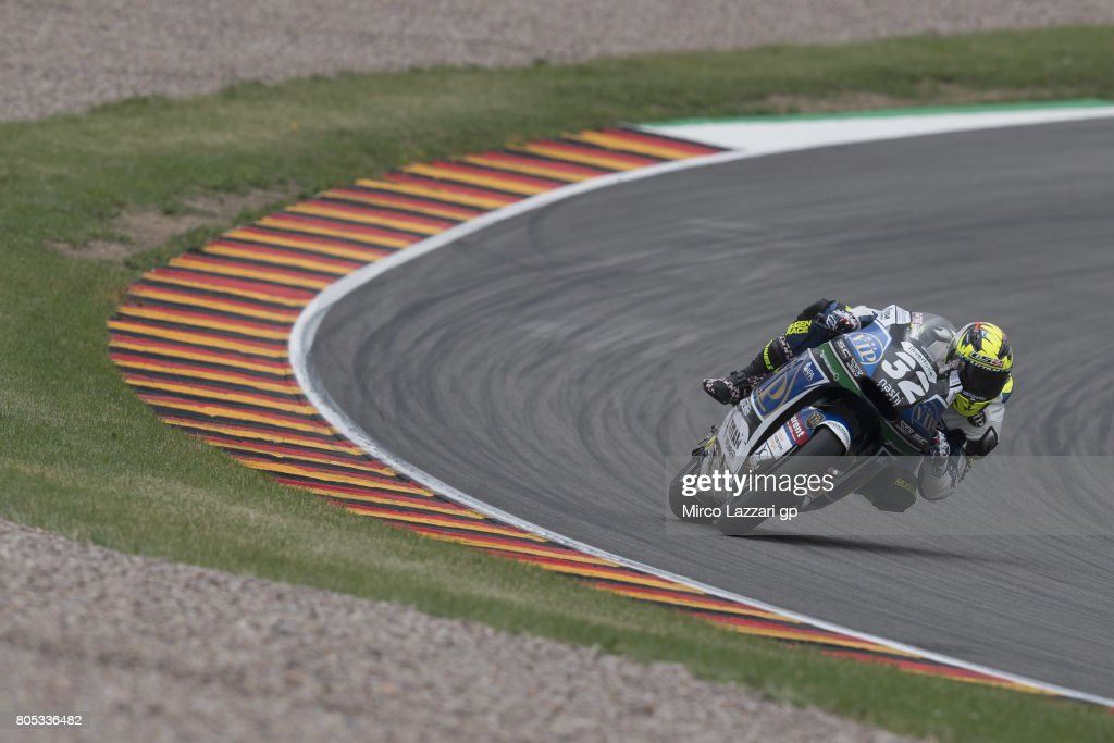 Isaac Vinales of Spain and SAG Racing rounds the bend during the MotoGp of Germany - Qualifying at Sachsenring Circuit on July 1, 2017 in Hohenstein-Ernstthal, Germany.