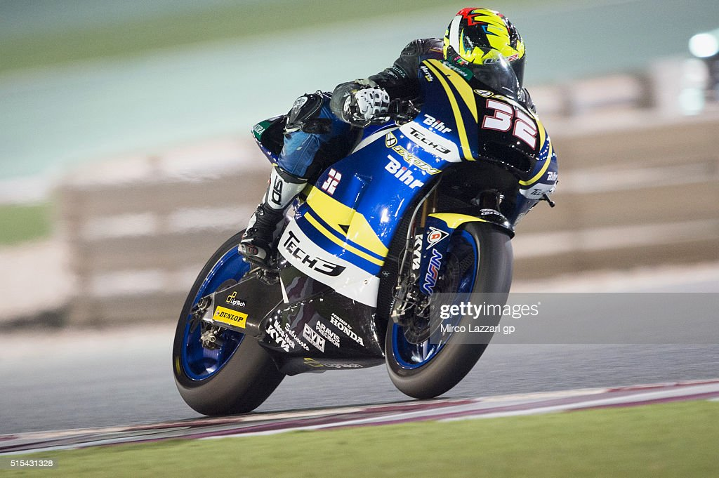 Isaac Vinales of Spain and Tech3 Racing heads down a straight during the Moto2 And Moto 3 Tests at Losail Circuit on March 13, 2016 in Doha, Qatar.
