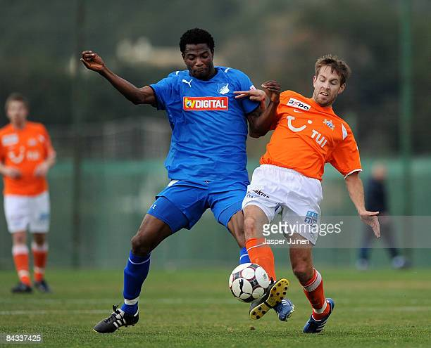 Isaac Vorsah of 1899 Hoffenheim duels for the ball with Silvan Aegerter of FC Zuerich during the friendly match between 1899 Hoffenheim and FC...