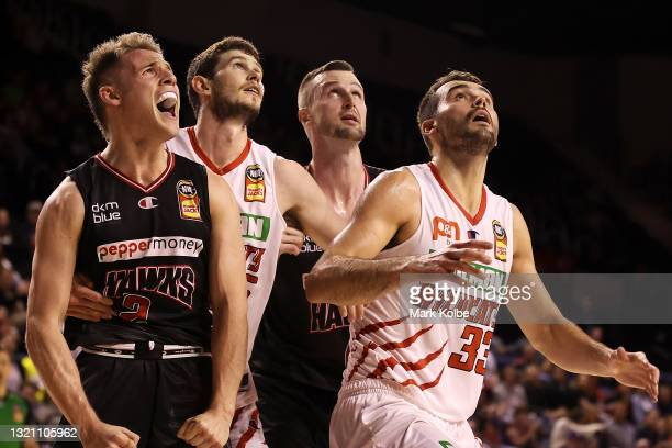 Isaac White of the Hawks celebrates a basket during the round 21 NBL match between the Illawarra Hawks and the Perth Wildcats at WIN Entertainment...