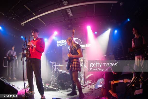 Isaac Wood, Lewis Evans, Tyler Hyde, Luke Mark and May Kershaw of Black Country New Road perform at the Roundhouse on day 1 of BBC Radio 6 Music...