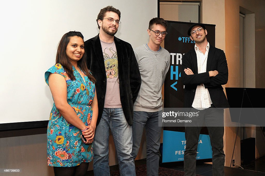 Isaac Woodruff (2nd L) and Jimmy Ferguson (R) of Team You Are Here speak at the Tribeca Hacks (Mobile) Presentation during the 2014 Tribeca Film Festival at Bennett Space on April 25, 2014 in New York City.