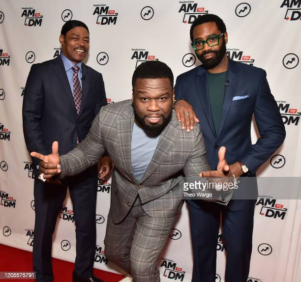 Isaac Wright Jr Curtis 50 Cent Jackson and Nicholas Pinnock visit BuzzFeed's AM To DM on February 11 2020 in New York City