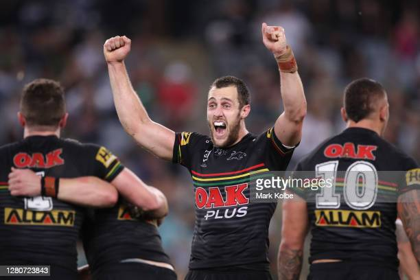 Isaah Yeo of the Panthers celebrates winning the NRL Preliminary Final match between the Penrith Panthers and the South Sydney Rabbitohs at ANZ...