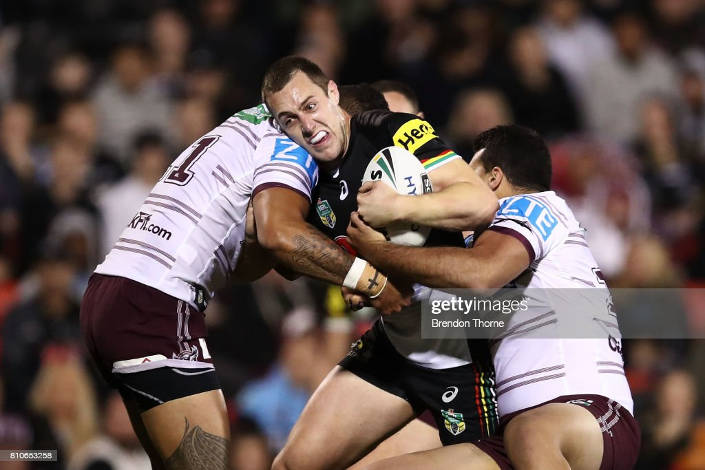 Isaah Yeo of the Panthers is tackled by the Sea Eagles defence during the round 18 NRL match between the Penrith Panthers and the Manly Sea Eagles at Pepper Stadium on July 8, 2017 in Sydney, Australia.
