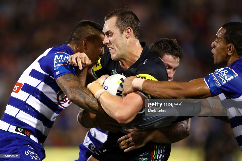 Isaah Yeo of the Panthers is tackled during the NRL round eight match between the Penrith Panthers and Canterbury Bulldogs on April 27, 2018 in Penrith, Australia.