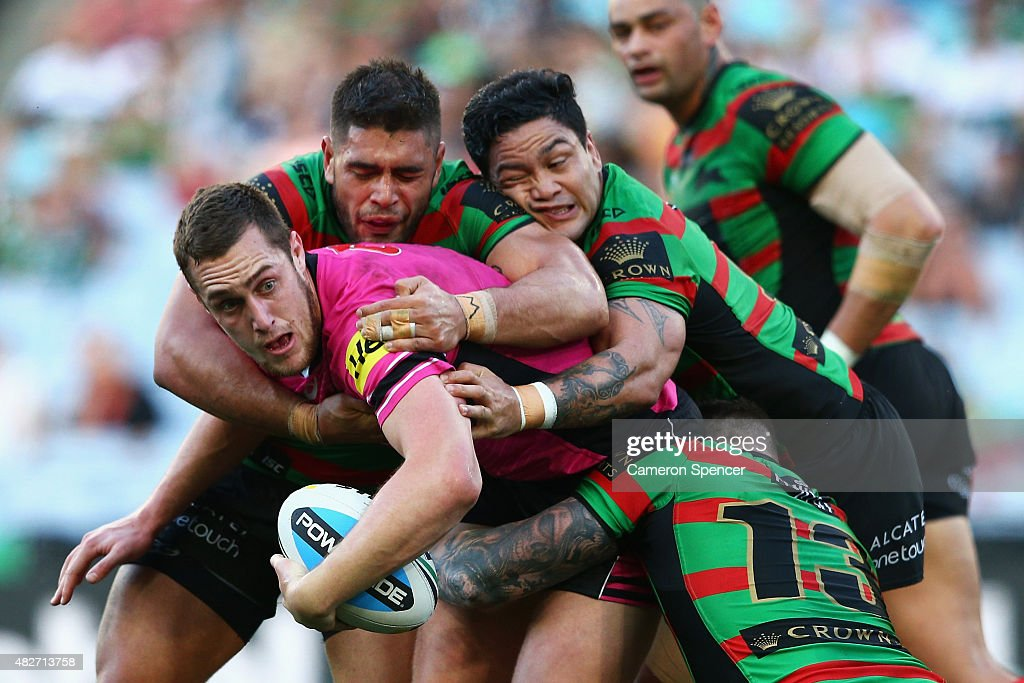 Isaah Yeo of the Panthers is tackled during the round 21 NRL match between the South Sydney Rabbitohs and the Penrith Panthers at ANZ Stadium on August 2, 2015 in Sydney, Australia.