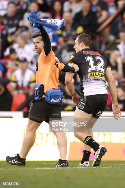 Isaah Yeo of the Panthers leaves the field with an injury during the round 10 NRL match between the Penrith Panthers and the New Zealand Warriors at...