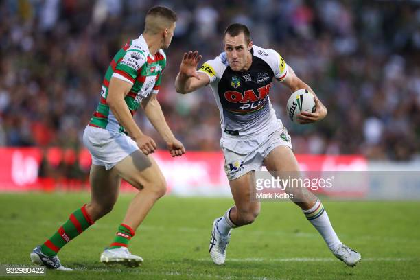 Isaah Yeo of the Panthers runs the ball during the round two NRL match between the Penrith Panthers and the South Sydney Rabbitohs at Penrith Stadium...
