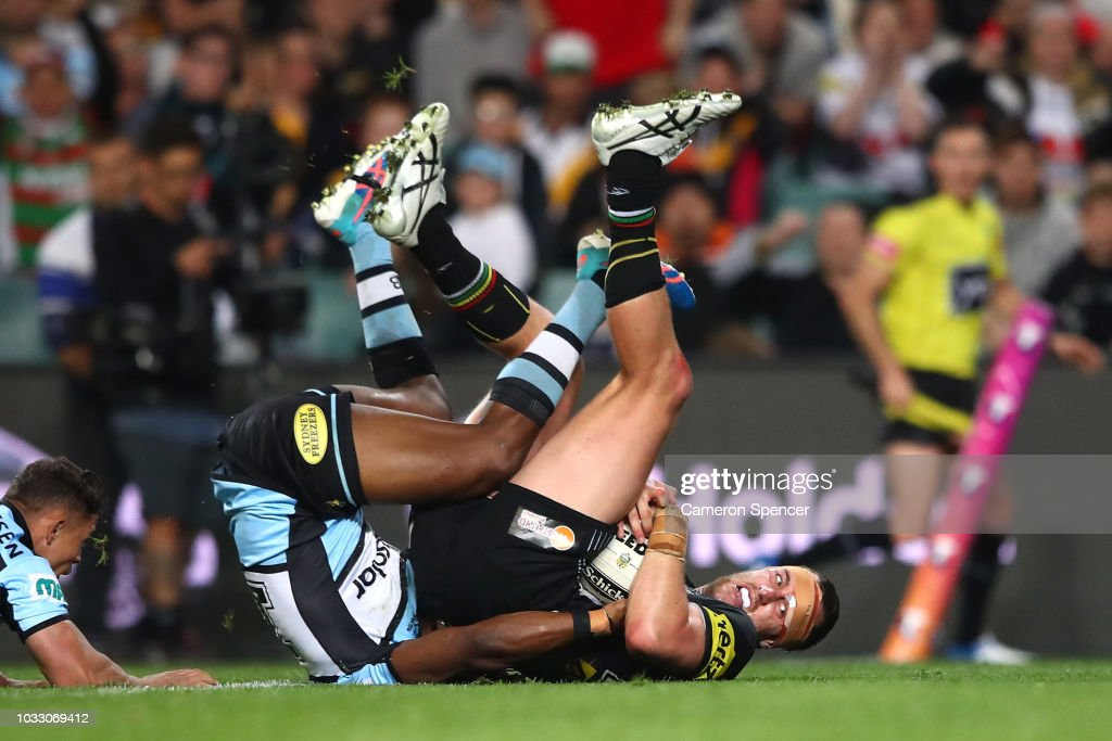 Isaah Yeo of the Panthers scores a try during the NRL Semi Final match between the Cronulla Sharks and the Penrith Panthers at Allianz Stadium on September 14, 2018 in Sydney, Australia.