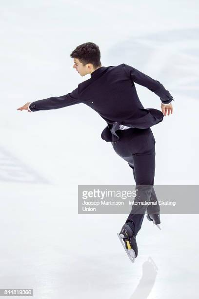 Isaak Droysen of Germany competes in the Junior Men Free Skating during day 3 of the Riga Cup ISU Junior Grand Prix of Figure Skating at Volvo Sports...
