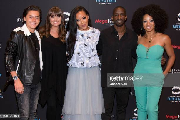 Isaak Presley Amber Thompson Angela Simmons Elijah Kelley and Monique Coleman pose for a photo at the Hollywood's Millennials International Faith...