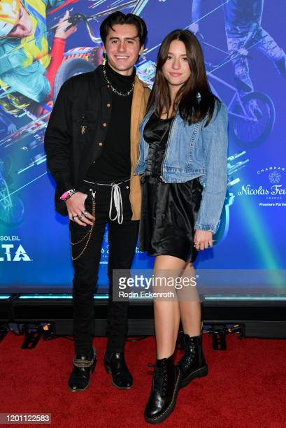 Isaak Presley and Mackenzie Ziegler attends the LA Premiere of Cirque Du Soleil's Volta at Dodger Stadium on January 21 2020 in Los Angeles California