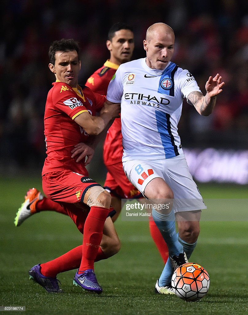 Isaas Sanchez of United competes for the ball with Aaron Mooy of Melbourne City during the A-League Semi Final match between Adelaide United and Melbourne City at Coopers Stadium on April 22, 2016 in Adelaide, Australia.