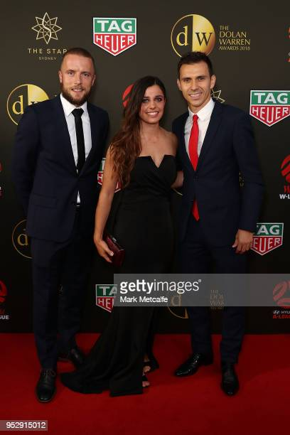 Isa'as S‡nchez Alex Chidiac and Daniel Adlung arrive ahead of the FFA Dolan Warren Awards at The Star on April 30 2018 in Sydney Australia