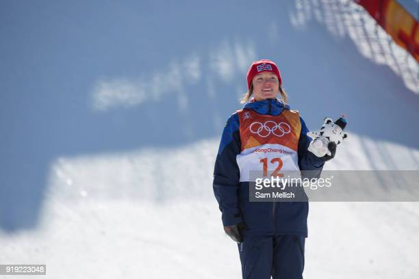 Isabel Atkin Great Britian wins BRONZE at the Womens Ski Slopestyle at the Pyeongchang Winter Olympics on 17th February 2018 at Phoenix Snow Park in...