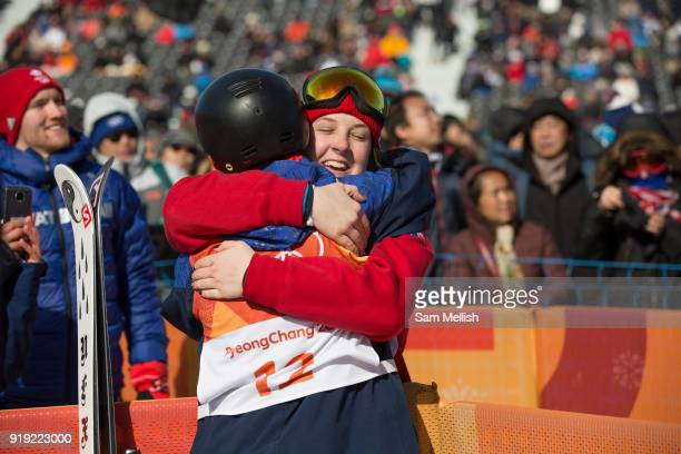 Isabel Atkin hugs fellow team mate Molly Summerhayes after winning bronze at the womens ski slopestyle contest at the Pyeongchang Winter Olympics on...