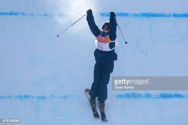 Isabel Atkin of Great Britain celebrates her final run during the Freestyle Skiing Ladies' Ski Slopestyle final on day eight of the PyeongChang 2018...