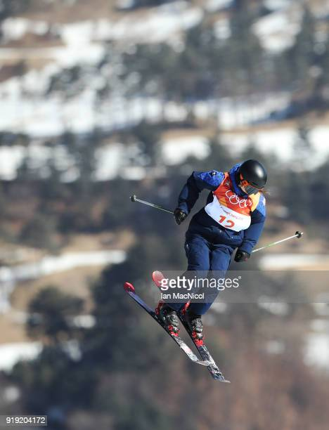 Isabel Atkin of Great Britain competes during the Freestyle Skiing on day eight of the PyeongChang 2018 Winter Olympic Games at Phoenix Snow Park on...