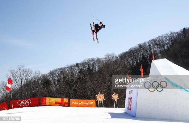 Isabel Atkin of Great Britain competes during the Freestyle Skiing Ladies' Ski Slopestyle qualification on day eight of the PyeongChang 2018 Winter...