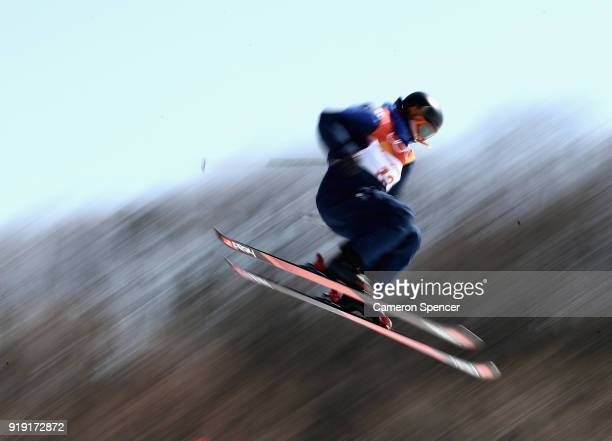 Isabel Atkin of Great Britain competes during the Freestyle Skiing Ladies' Ski Slopestyle training on day eight of the PyeongChang 2018 Winter...