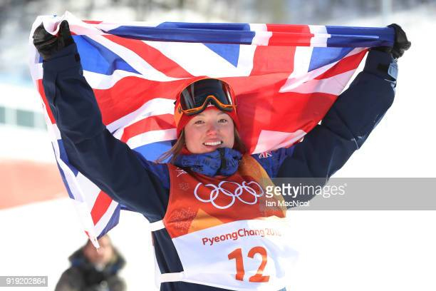 Isabel Atkin of Great Britain is seen after placing third during the Freestyle Skiing on day eight of the PyeongChang 2018 Winter Olympic Games at...