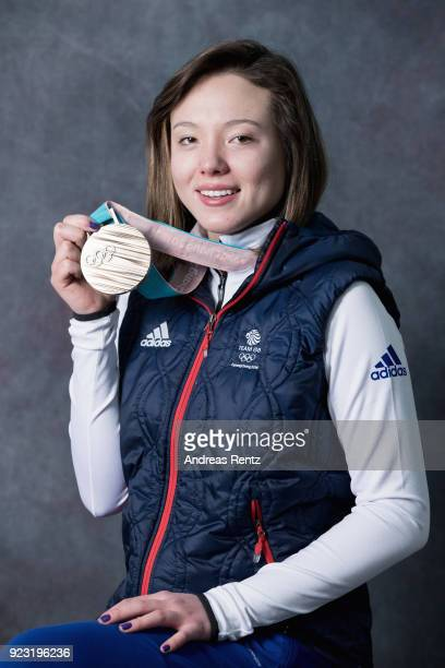 Isabel Atkin of Great Britain poses for a portrait with her bronze medal on day 14 of the PyeongChang 2018 Winter Olympic Games on February 23 2018...