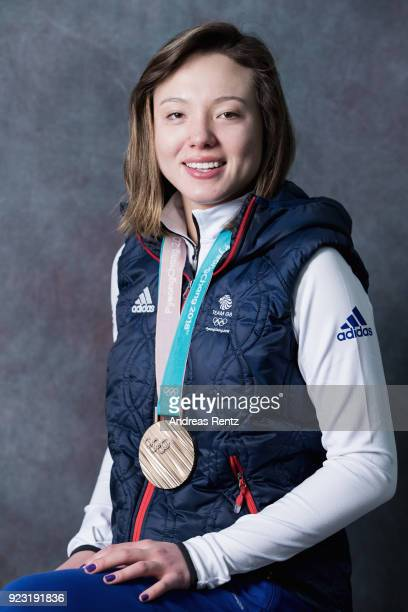 Isabel Atkin of Great Britain poses for portrait with her bronze medal on day 14 of the PyeongChang 2018 Winter Olympic Games on February 23 2018 in...