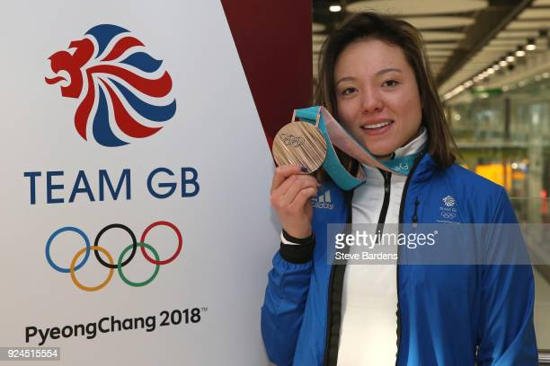 Isabel Atkin of Great Britain poses with her Ladies' Ski Slopestyle bronze medal during the Team GB Homecoming from the Winter Olympics at Heathrow...