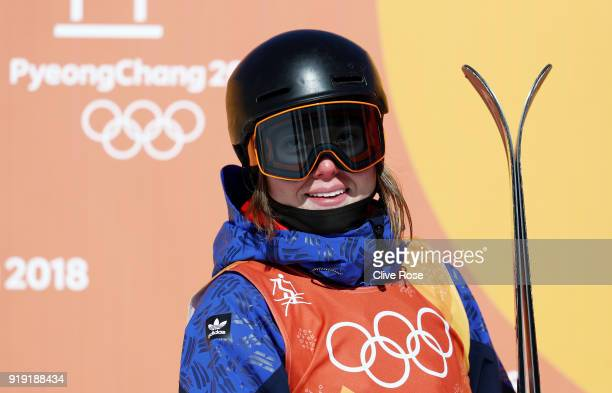 Isabel Atkin of Great Britain waits to find out her score during the Freestyle Skiing Ladies' Ski Slopestyle final on day eight of the PyeongChang...