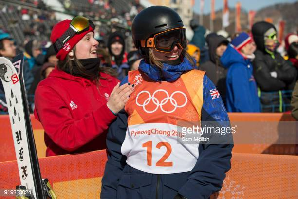 Isabel Atkin with fellow team mate Molly Summerhayes after winning bronze at the womens ski slopestyle contest at the Pyeongchang Winter Olympics on...