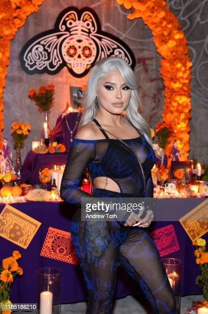 Isabel Bedoya visits a traditional Mexican ofrenda altar at PATRÓN Tequila's Día de Muertos Celebration at City Libre on November 02 2019 in Los...