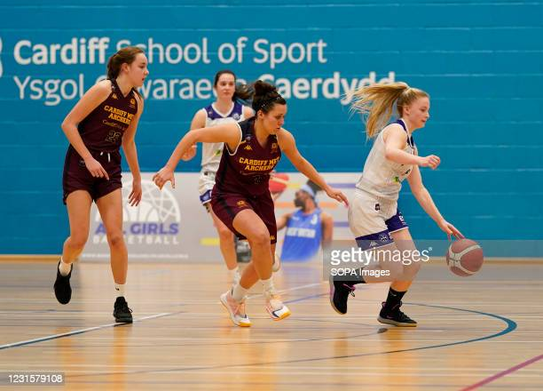 Isabel Bunyan Laura Shanahan and Rose Harvey are seen in action during the Women's British Basketball League match between WBBL Cardiff Archers and...