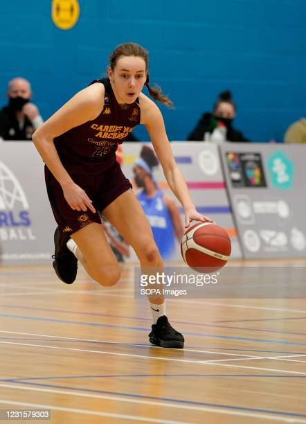 Isabel Bunyan seen in action during the Women's British Basketball League match between WBBL Cardiff Archers and Caledonia Pride at Cardiff Archers...