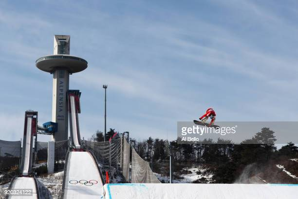 Isabel Derungs of Switzerland competes during the Snowboard Ladies' Big Air Qualification on day 10 of the PyeongChang 2018 Winter Olympic Games at...