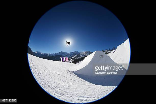 Isabel Derungs of Switzerland competes in the Women's Slopestyle Qualification during the Sochi 2014 Winter Olympics at Rosa Khutor Extreme Park on...