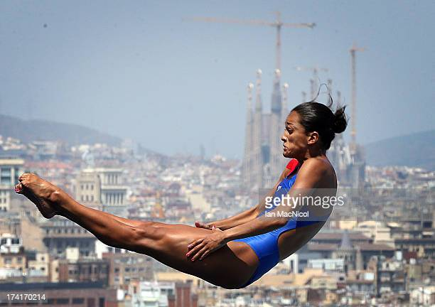 Isabel Diana Pineda of Colombia competes in the preliminary round of The Women's 1m Springboard at The Piscina Municipal De Montjuic on day two of...