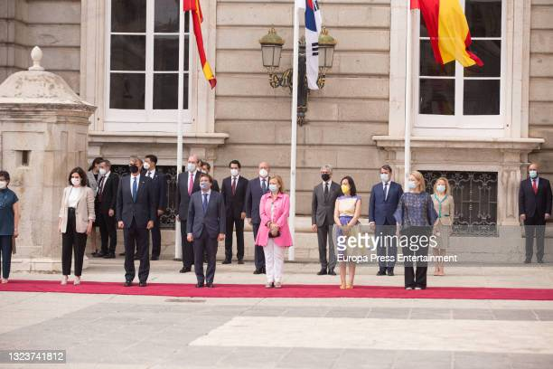 Isabel Diaz Ayuso and Jose Luis Martinez Almeida during the reception of the President of the Republic of Korea, Moon Jae-in, and his wife, Kim...