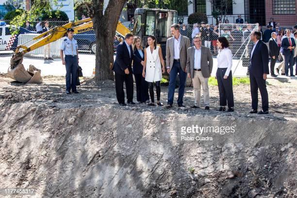 Isabel Diaz Ayuso Queen Letizia of Spain and King Felipe VI of Spain visit Arganda del Rey after after the floods on September 27 2019 in Arganda del...