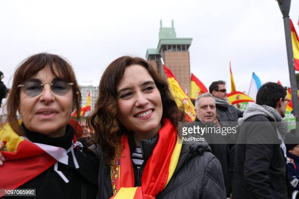 Isabel DiazAyuso candidate of the president of Comunidad de Madrid seen attending the manifestation of this Sunday called by PP and Ciudadanos has...