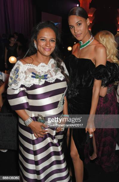 Isabel dos Santos and Cindy Bruna attend the amfAR Gala Cannes 2017 at Hotel du CapEdenRoc on May 25 2017 in Cap d'Antibes France