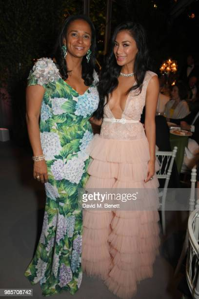 Isabel dos Santos and Nicole Scherzinger attend the Argento Ball for the Elton John AIDS Foundation in association with BVLGARI Bob and Tamar...